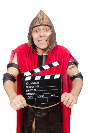 clapboard: Gladiator with clapboard isolated on white