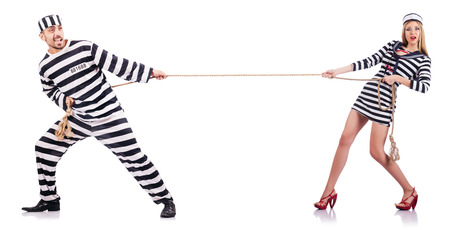 jailer: Convicted man and seaman girl isolated on white Stock Photo