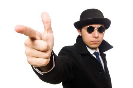 Man wearing black coat isolated on white photo