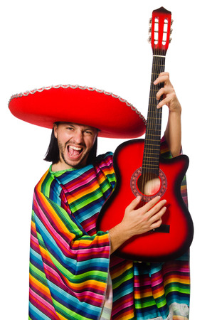 Mexican in vivid poncho holding guitar isolated on white photo
