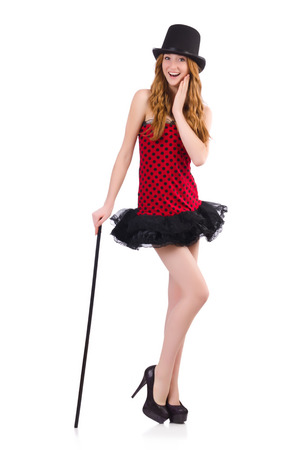 pret a porter: Girl in red polka-dot dress isolated on white Stock Photo