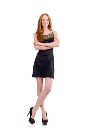A girl in elegant black mini dress isolated on white photo