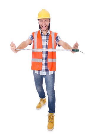 tapeline: Funny construction worker with tape-line isolated on white