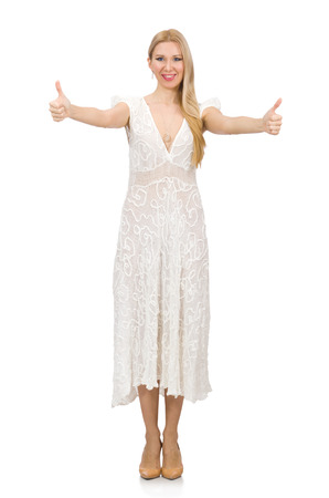 hitch hiker: Woman in dress in fashion dress isolated on white