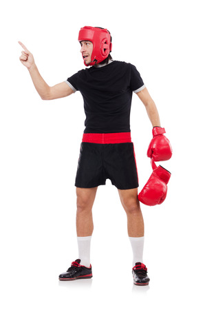 feeble: Funny boxer isolated on the white Stock Photo