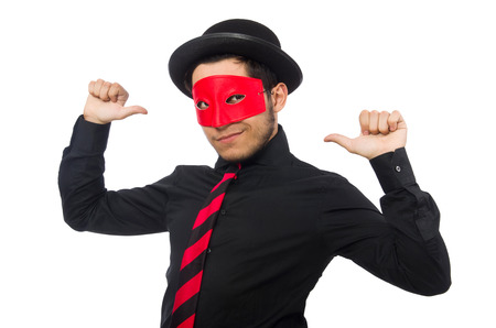 insincere: Young man with red mask isolated on white Stock Photo
