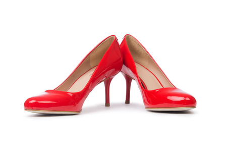 opentoe: Red woman shoes isolated on the white background Stock Photo