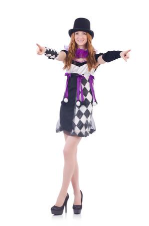 arlecchino: Una ragazza in costume Arlecchino isolato su bianco