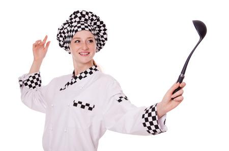 Female chef isolated on white photo