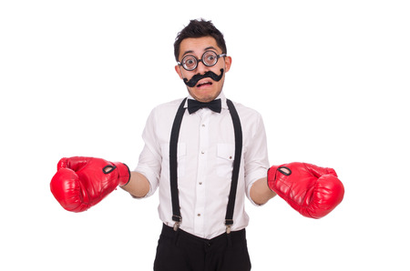 agression: Funny boxer isolated on the white background