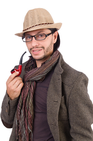 Young detective with pipe isolated on white photo