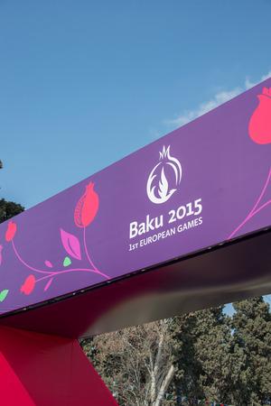 Baku - MARCH 21, 2015: 2015 European Games posters on March 21 in Azerbaijan, Baku. Baku will host first European Games in 2015