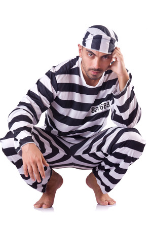 an inmate: Prison inmate isolated on the white