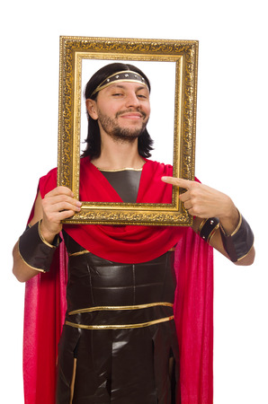 passepartout: Gladiator holding picture frame isolated on white