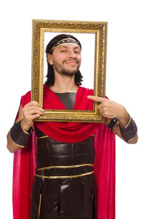 bordo: Gladiator holding picture frame isolated on white