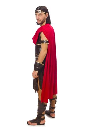 historical period: Gladiator isolated on white Stock Photo