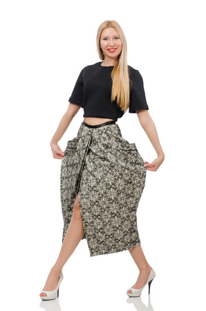 long skirt: Pretty woman in long skirt isolated on white