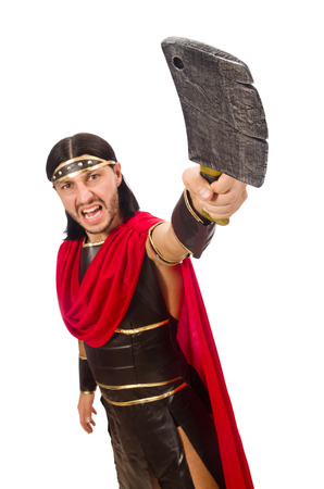 bordo: Gladiator with cleaver isolated on white