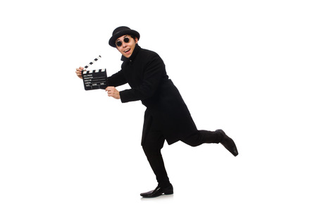 clapperboard: Young man with clapper-board isolated on white