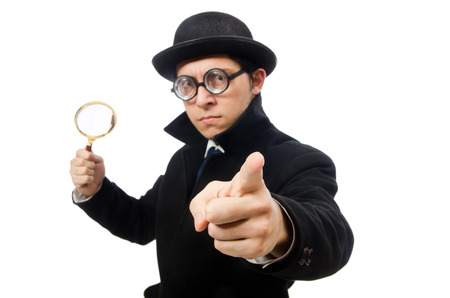 close up chimney: Detective with magnifying glass  isolated on white Stock Photo