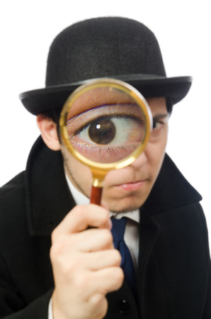 Man with magnifying glass isolated on white