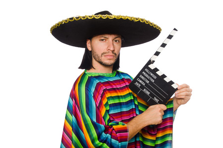 clapperboard: Handsome man in vivid poncho holding clapperboard isolated on white Stock Photo