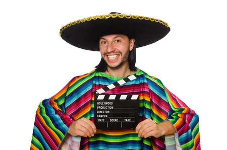 Handsome man in vivid poncho isolated on white photo