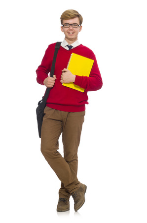 Student with bag and paper isolated on white photo