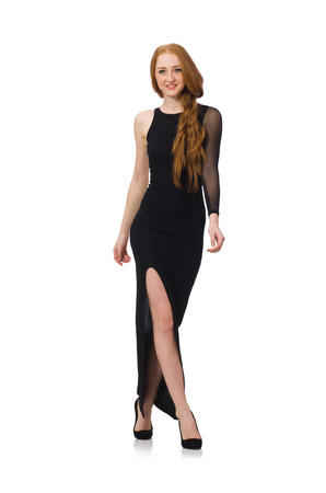 Young lady in elegant black dress isolated on white photo