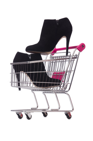 opentoe: Woman shoes in shopping cart on white Stock Photo