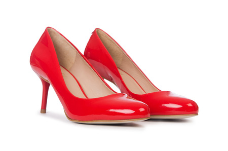 foot gear: Red woman shoes isolated on the white background Stock Photo