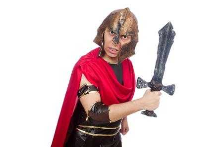 bordo: Gladiator holding sword isolated on white