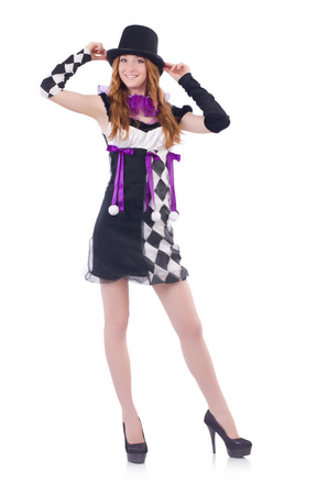 harlequin: A girl in harlequin costume isolated on white