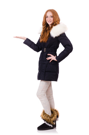 anorak: Pretty girl in warm clothes isolated on white Stock Photo