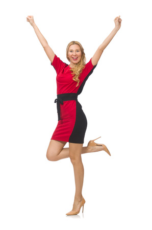 Beautiful lady in red black dress isolated on white photo
