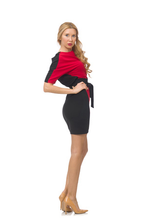bordo: Beautiful lady in red black dress isolated on white Stock Photo