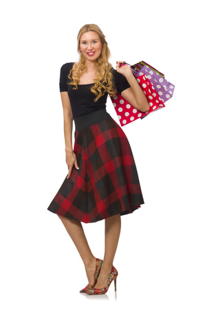 bordo: Beautiful young woman in plaid dress isolated on white