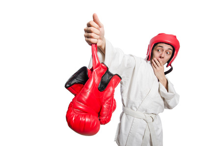 knockdown: Man boxer isolated on white