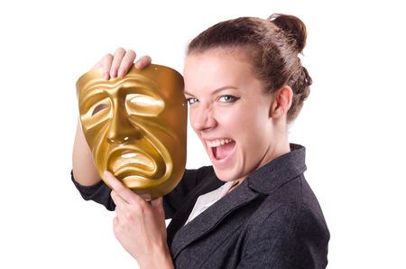 hipocresía: Mujer con la m�scara en concepto de hipocres�a