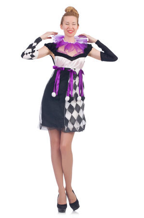 arlecchino: A girl in harlequin costume isolated on white