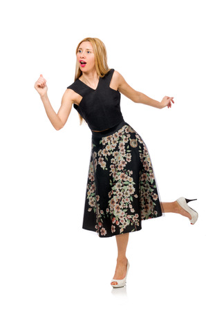 pret a porter: Woman in floral dark skirt isolated on white