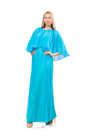 maxi dress: Young woman in gentle blue dress isolated on white