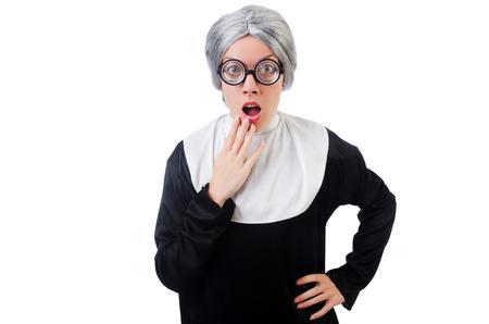 Comic nun isolated on white photo