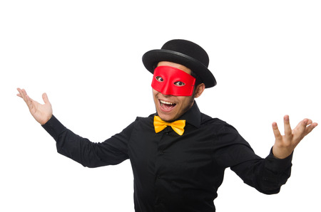 insincere: A man wears red mask isolated on white