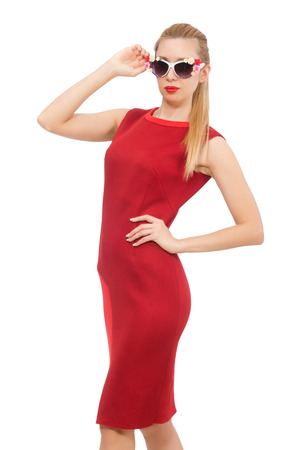 without clothes: Pretty young woman in red dress isolated on white