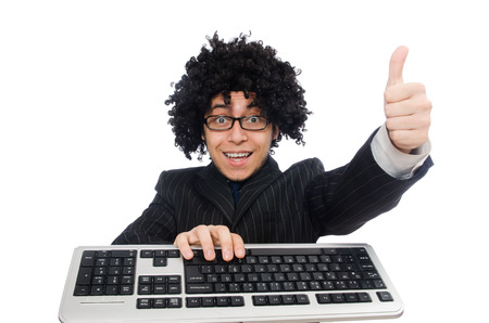 afro hairdo: Young employee with keyboard isolated on white