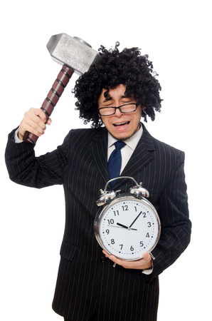 afro hairdo: Businessman holding hammer and alarm clock isolated on white Stock Photo