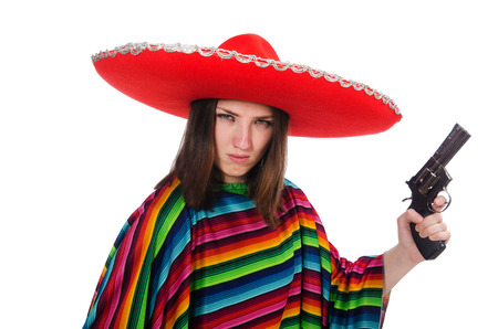 Pretty mexican girl in vivid poncho isolated on white photo