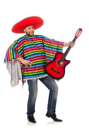 Funny mexican with guitar isolated on white photo