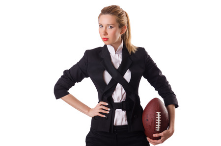 preety: Preety office employee with rugby ball isolated on white Stock Photo